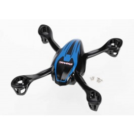 TRA6213 Traxxas Canopy, upper and lower, QR-1, blue/ mounting screws