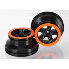 TRA5868X Traxxas Wheels, SCT black, orange beadlock style, dual profile
