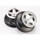 TRA5872 Traxxas Wheels, SCT satin chrome, beadlock style, dual profile